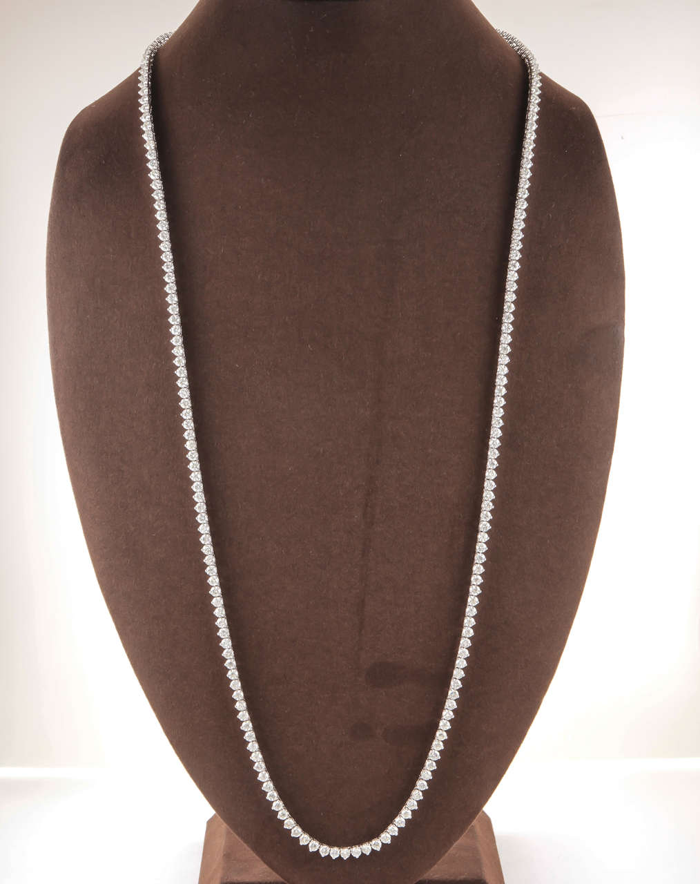 32 Inch Diamond Gold Opera Tennis Necklace In Excellent Condition In New York, NY