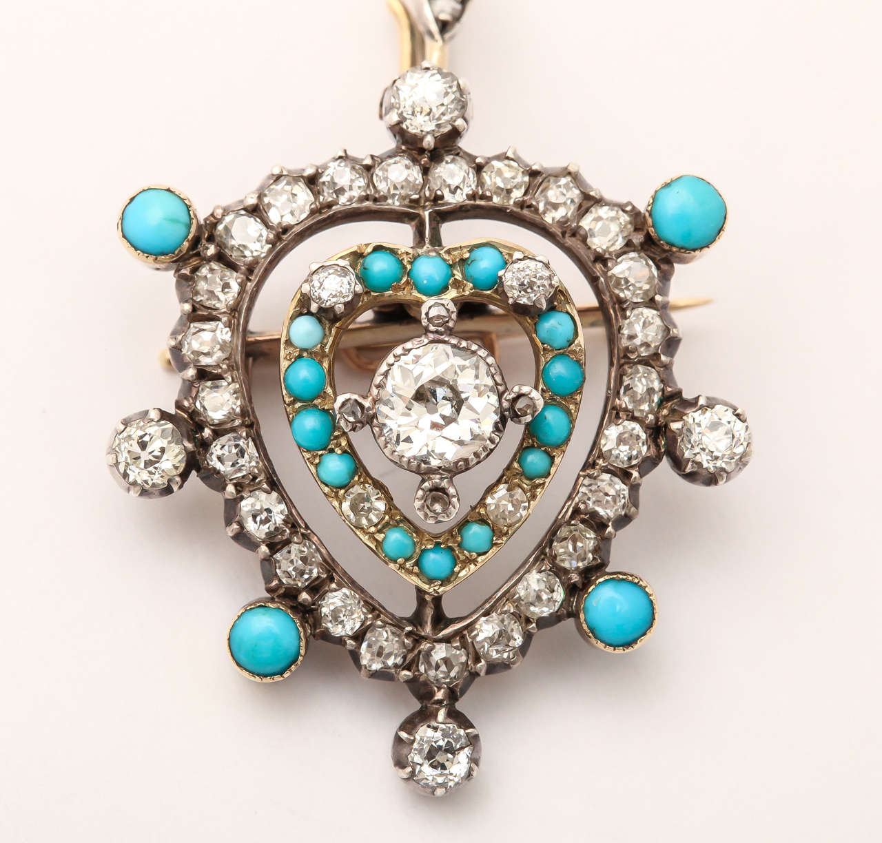 Edwardian Diamond Turquoise Heart Pendant or Brooch 4
