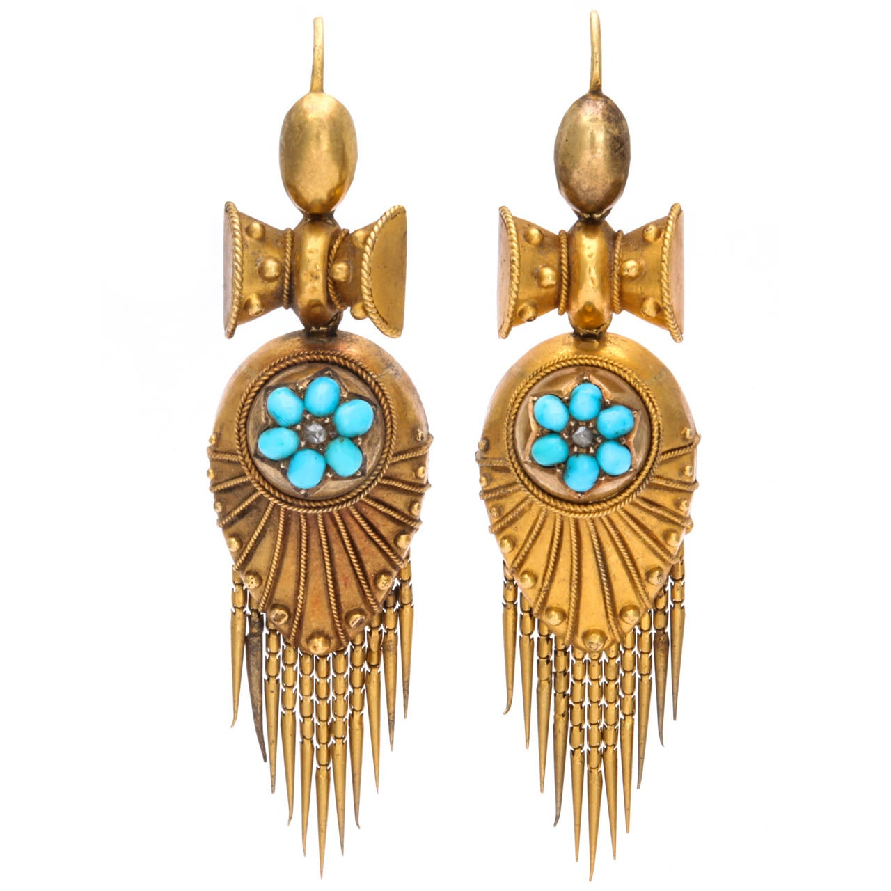 High Victorian Turquoise Gold Earrings At 1stdibs