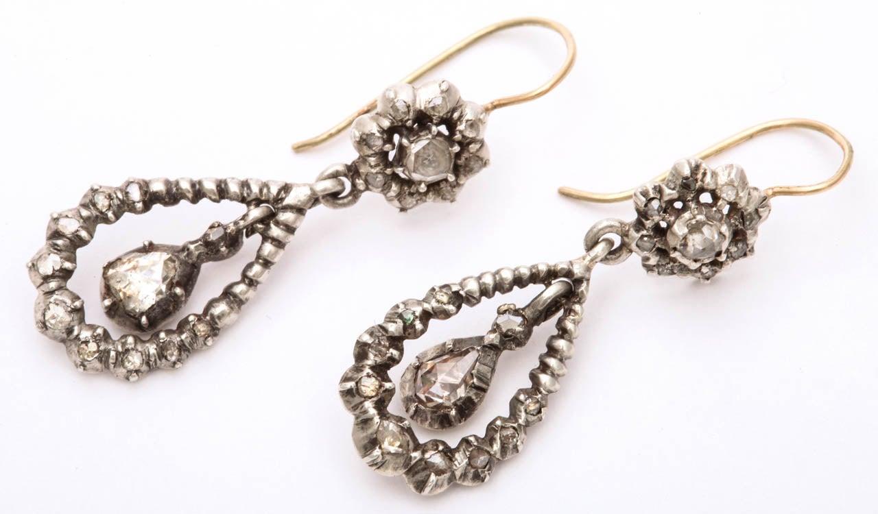 Women's Antique Georgian Diamond Silver Gold Dangle Earrings For Sale