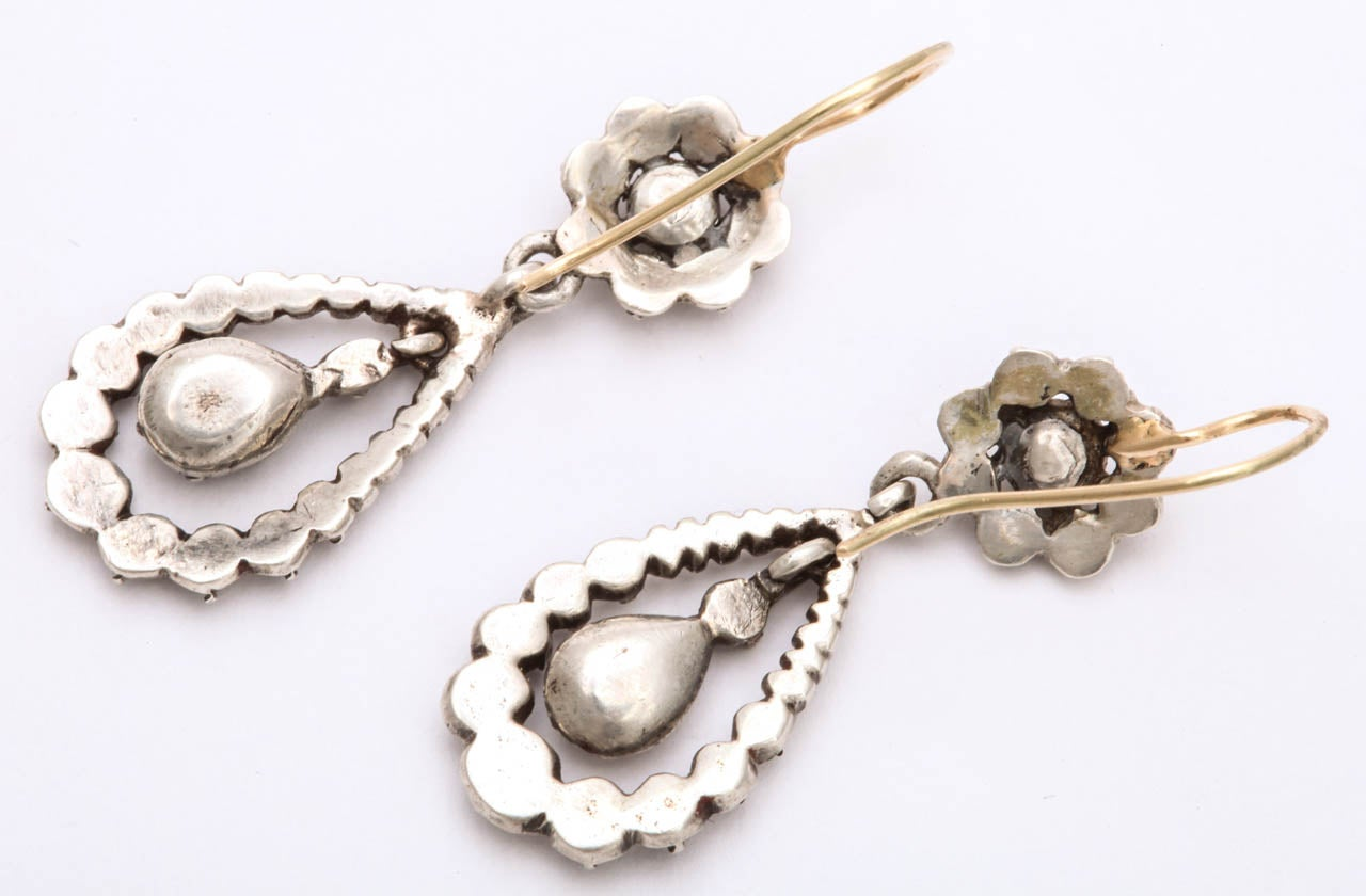 Antique Georgian Diamond Silver Gold Dangle Earrings For Sale 1