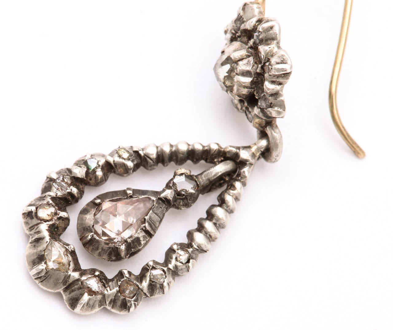 Antique Georgian Diamond Silver Gold Dangle Earrings For Sale 2