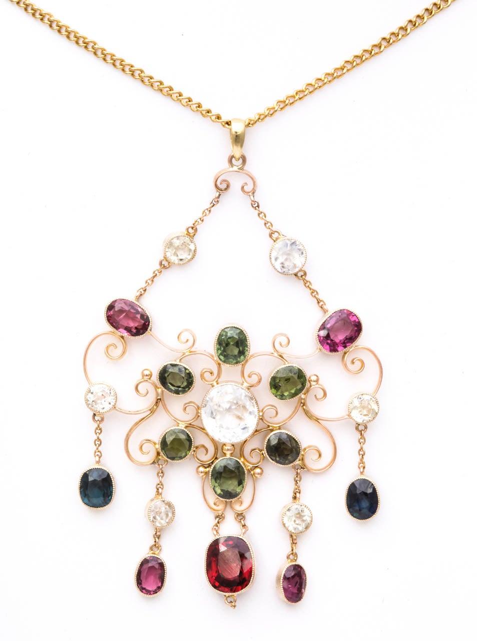 Victorian Gem Gold Necklace 2