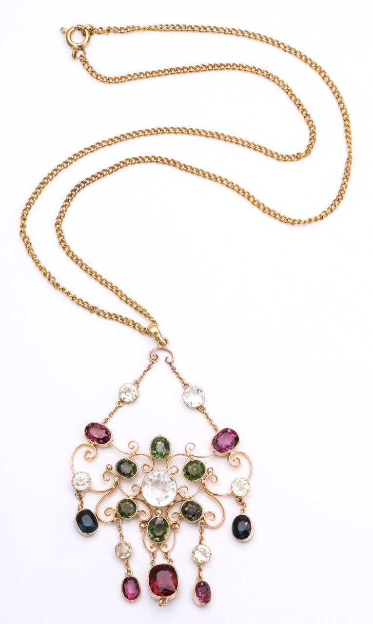 Victorian Gem Gold Necklace 3