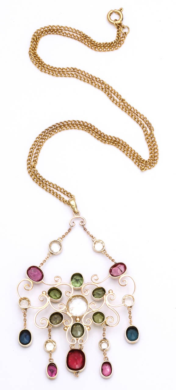 Victorian Gem Gold Necklace 4