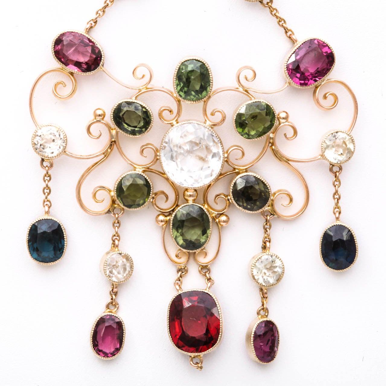 Victorian Gem Gold Necklace 5
