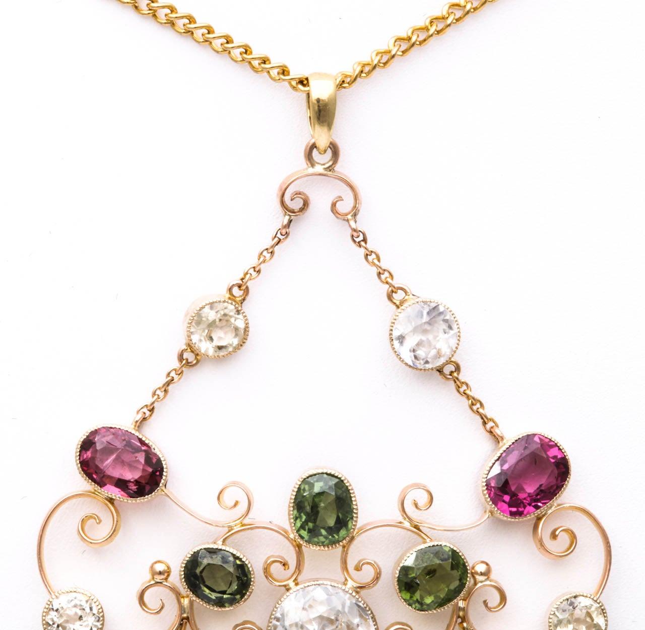 Victorian Gem Gold Necklace 6