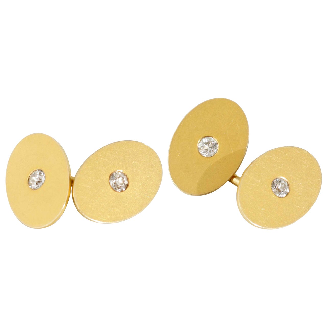 Tiffany & Co. Diamond Gold Oval Cufflinks
