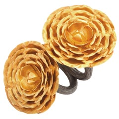 Gold Peonies Rings