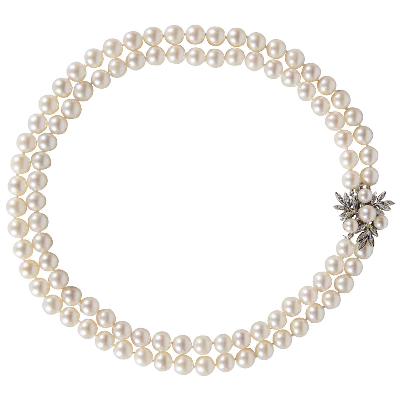 Double Strand Pearls With Pearl Diamond Gold Clasp 1