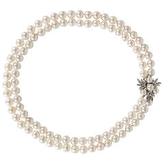 Double Strand Pearls with Pearl Diamond Gold Clasp