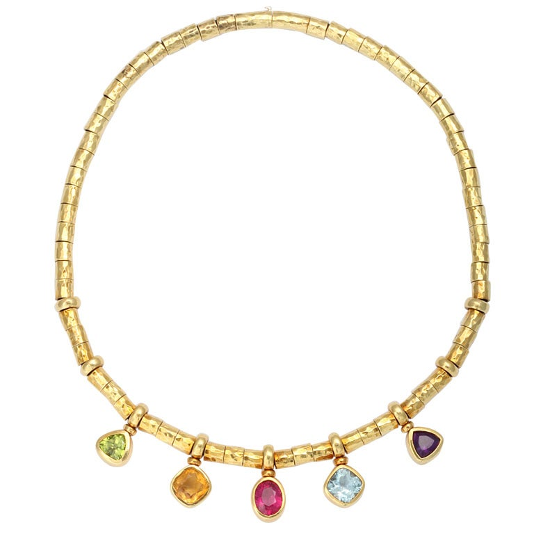 Multi-Colored Stone and Gold Necklace at 1stdibs