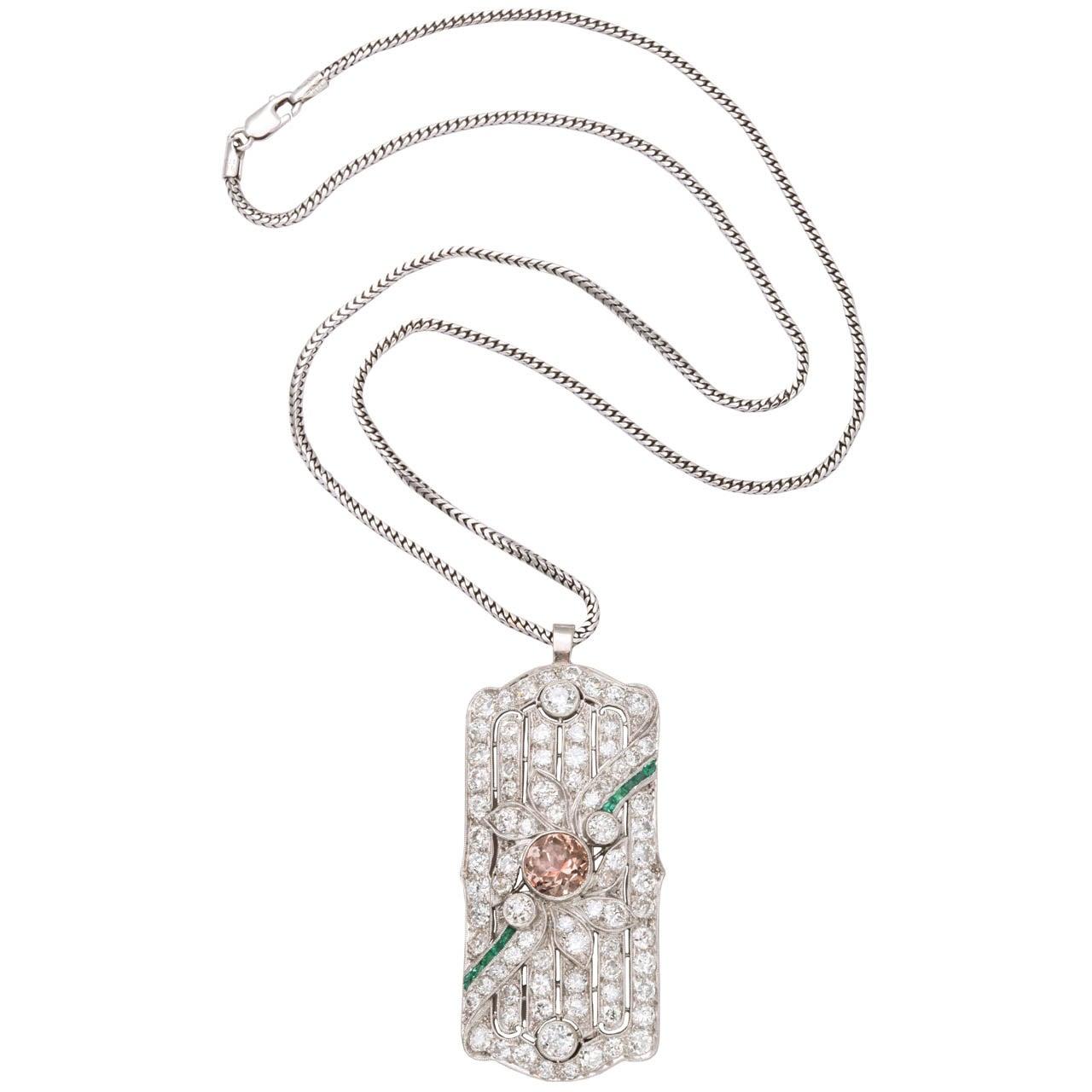 Diamond & Platinum Pendant Pin