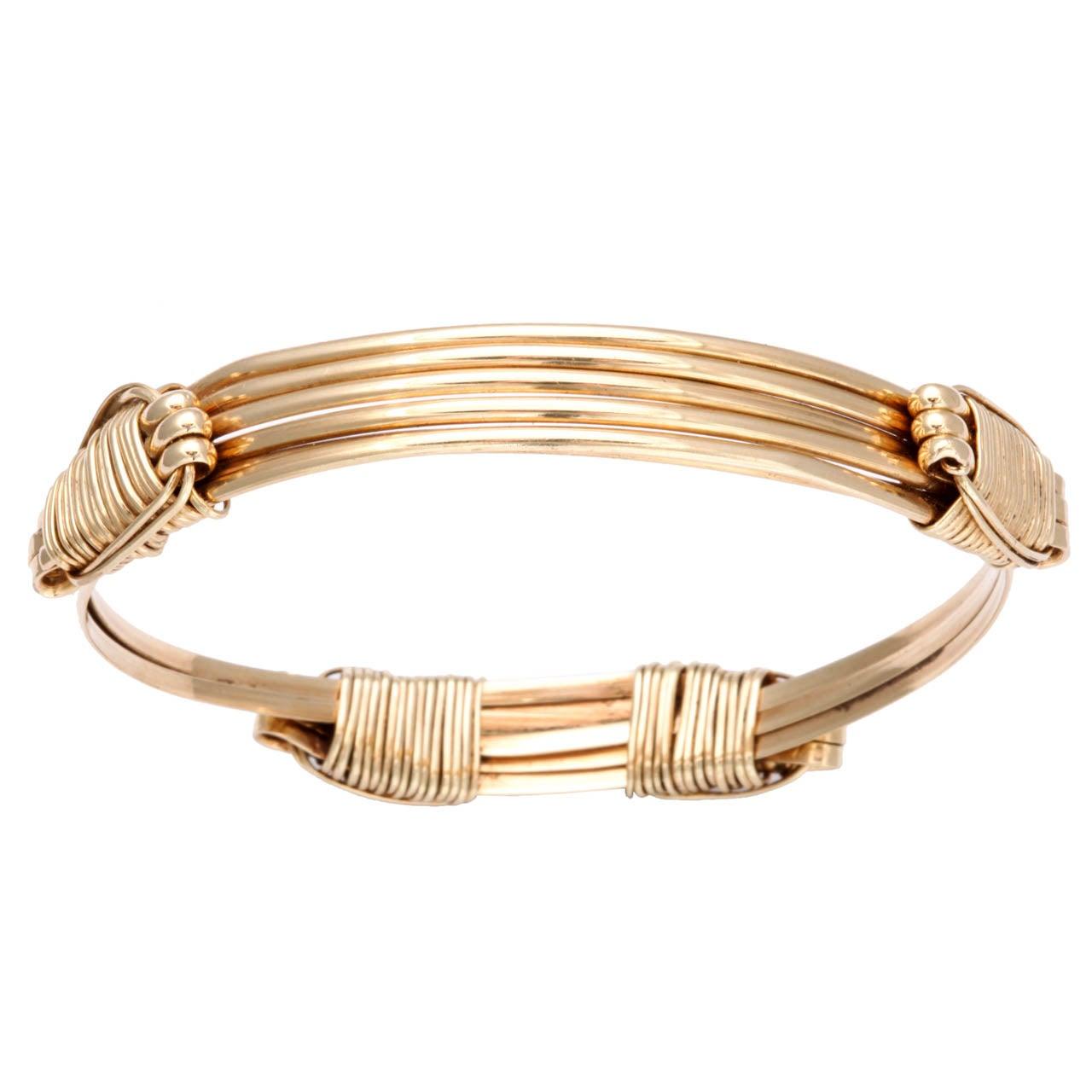 Expandable Gold Elephant S Hair Bracelet At 1stdibs