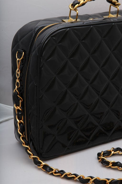 CHANEL PATENT LEATHER LARGE QUILTED BAG 5