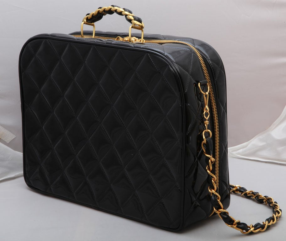 CHANEL PATENT LEATHER LARGE QUILTED BAG 6