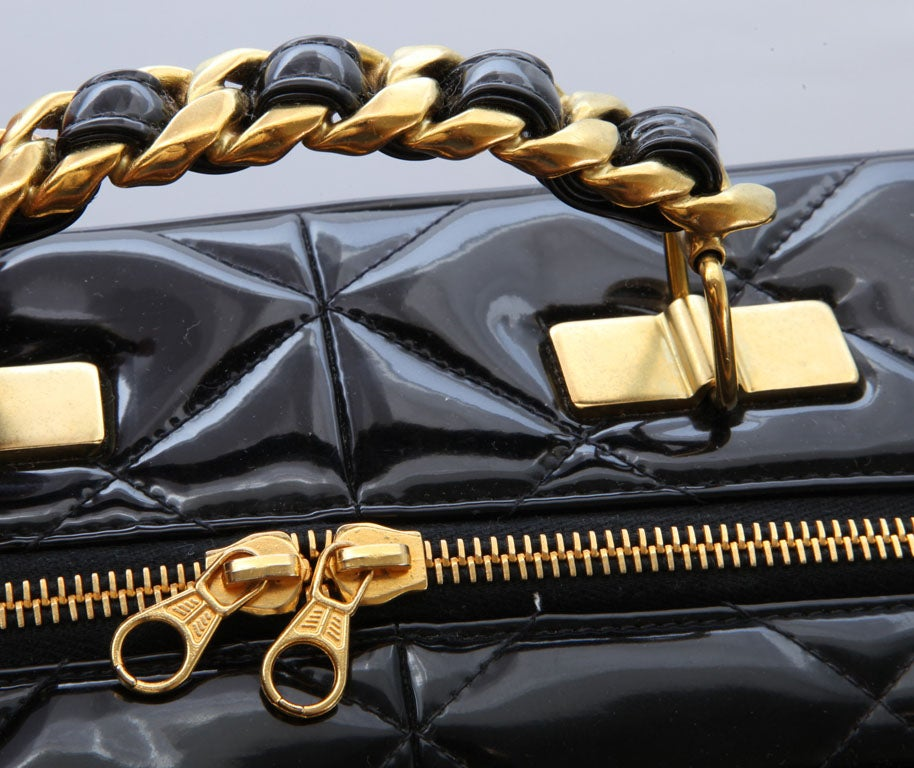 CHANEL PATENT LEATHER LARGE QUILTED BAG 10