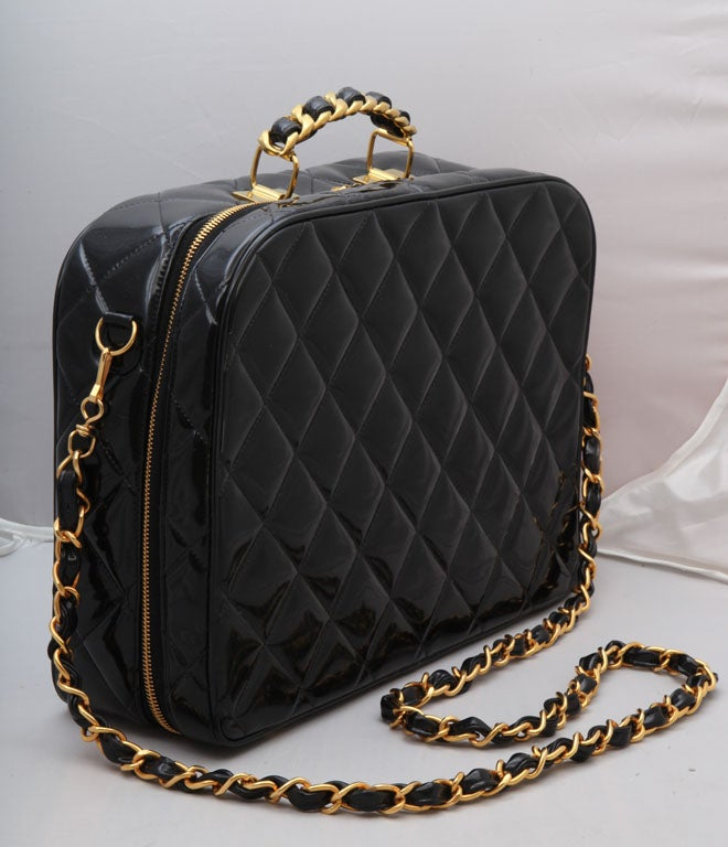 CHANEL PATENT LEATHER LARGE QUILTED BAG 2