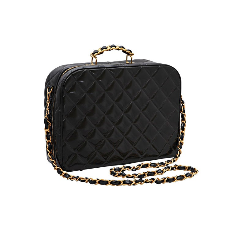 CHANEL PATENT LEATHER LARGE QUILTED BAG 1