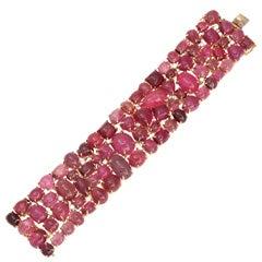 Pink Tourmaline Diamond and Gold Bracelet