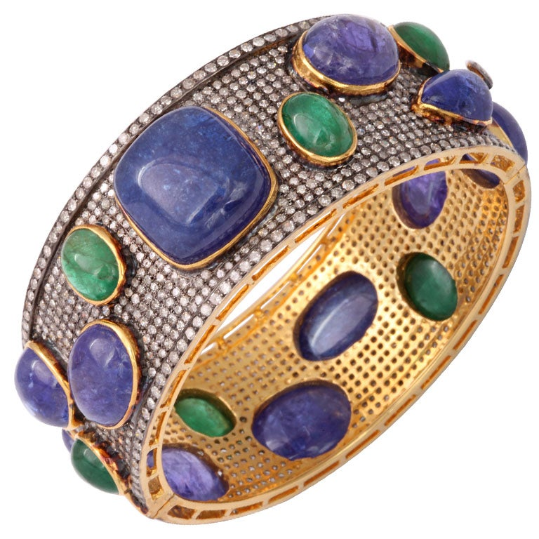 Bold Pave Diamond Bangle with Cabochon Tanzanites and Emeralds