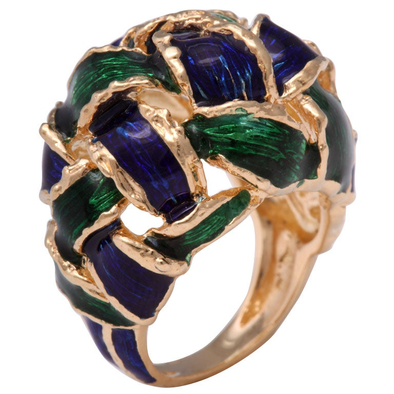 1960s Moderne Woven Green and Blue Enamel Gold Dome Ring