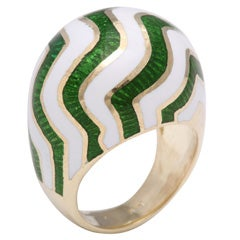 Martine Green and White Striped Enamel Gold Ring
