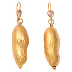 Diamond Gold Peanut Earrings