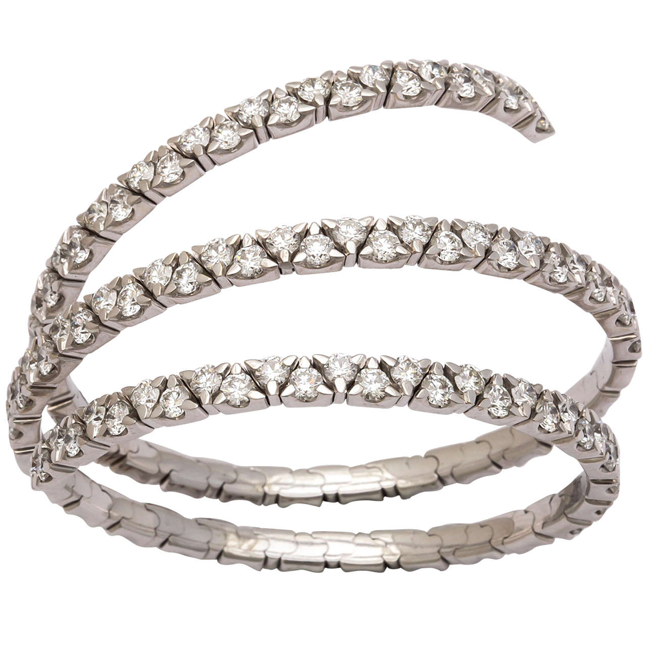 Diamond White Gold Spring Bangle Bracelet For