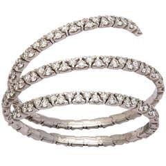Diamond White Gold Spring Bangle Bracelet