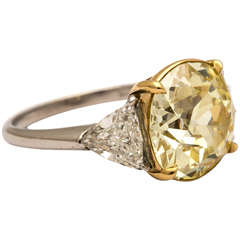 Old Mine Brilliant Fancy Yellow Diamond Platinum Ring
