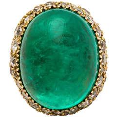 54.19 Carat Cabochon Emerald Diamond Gold Ring