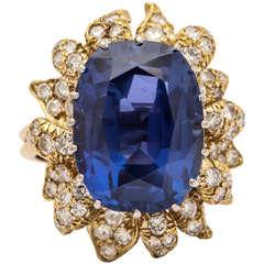 17.70 Carat Natural Ceylon Sapphire Diamond Floral Ring