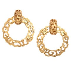 Chanel Gold Tone Hoop Earrings with CC Logos