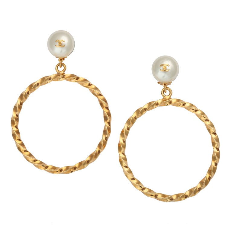 Chanel Pearl Gold Earrings Chanel Gold Hoop Earrings With