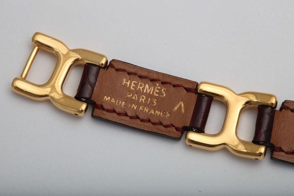 HERMES POROSUS CROCODILE LINK BRACELET image 5