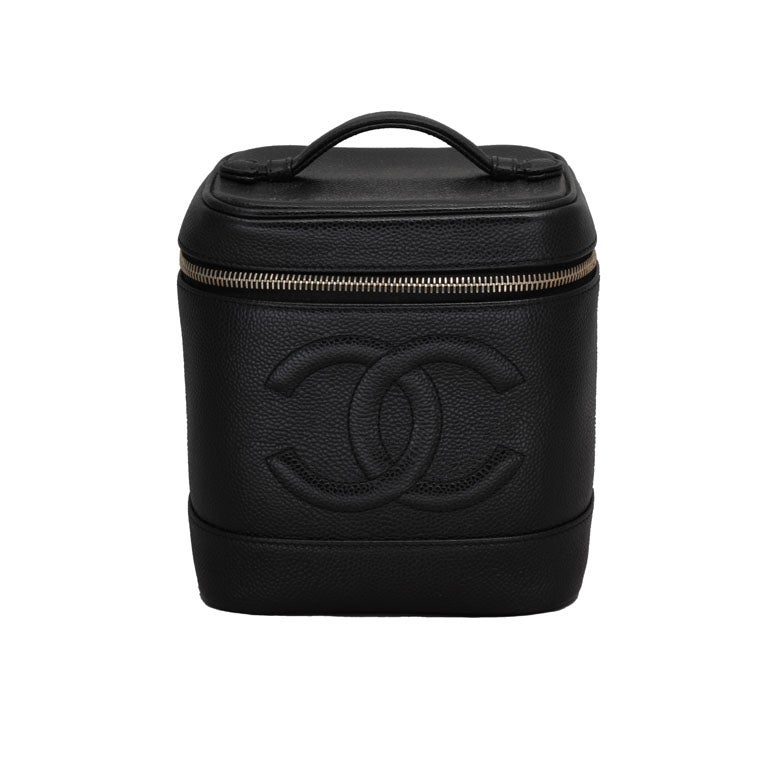 Chanel Black Cavier Skin Vanity Bag