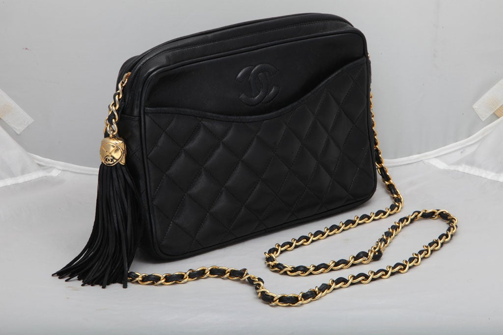 CHANEL QUILTED LAMBSKIN TASSEL BAG 2
