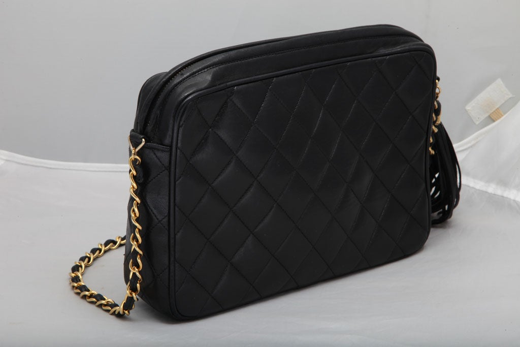 CHANEL QUILTED LAMBSKIN TASSEL BAG 5