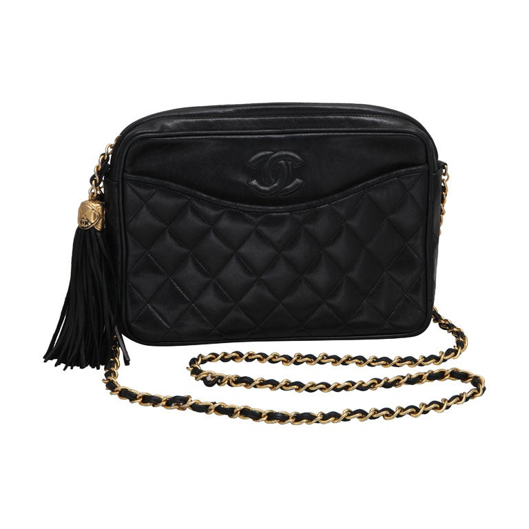 CHANEL QUILTED LAMBSKIN TASSEL BAG 1