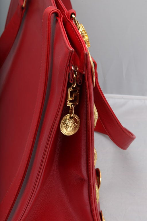 Gianni Versace Couture Red Large Tote Bag with Medusas  For Sale 1