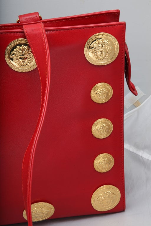 Gianni Versace Couture Red Large Tote Bag with Medusas  For Sale 2