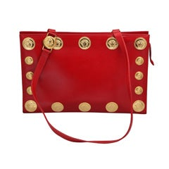 Gianni Versace Couture Red Large Tote Bag with Medusas