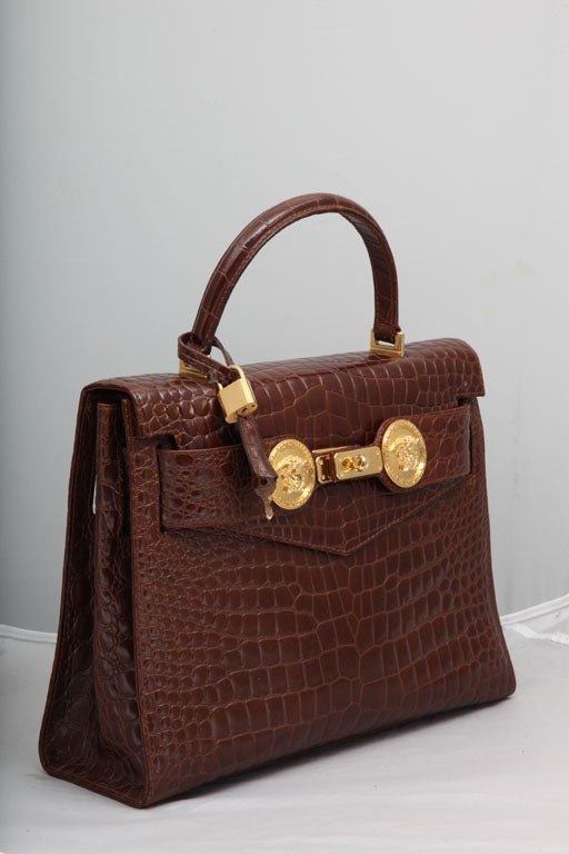 GIANNI VERSACE COUTURE CROC EMBOSSED BAG WITH MEDUSAS 2