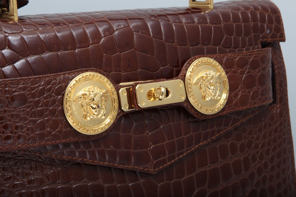 GIANNI VERSACE COUTURE CROC EMBOSSED BAG WITH MEDUSAS 3