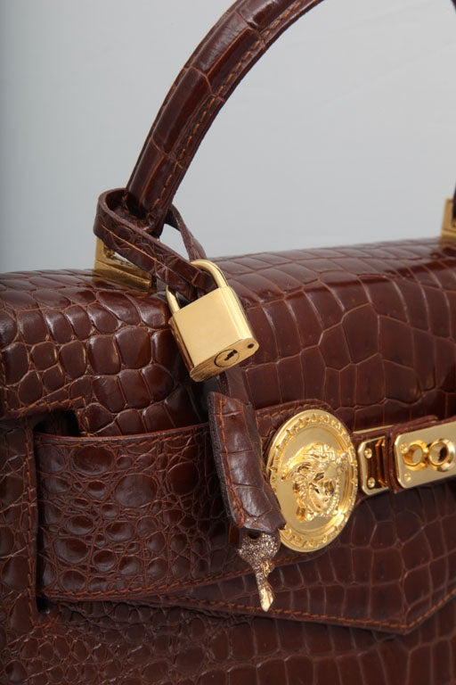 GIANNI VERSACE COUTURE CROC EMBOSSED BAG WITH MEDUSAS 4