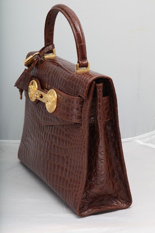 GIANNI VERSACE COUTURE CROC EMBOSSED BAG WITH MEDUSAS 5