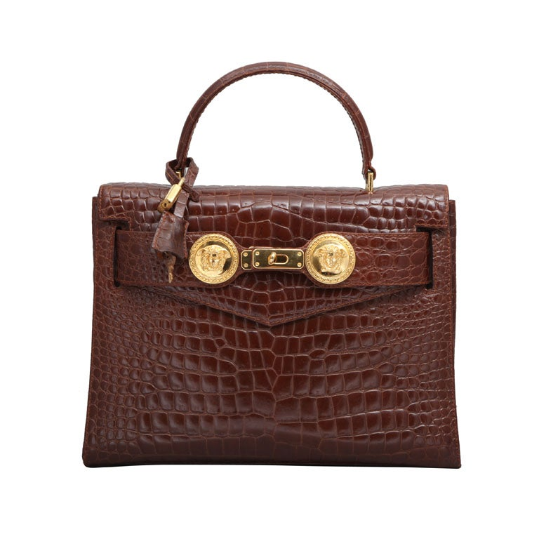 GIANNI VERSACE COUTURE CROC EMBOSSED BAG WITH MEDUSAS 1