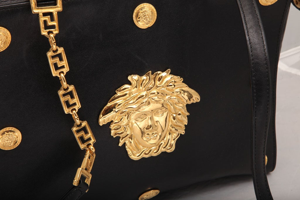 Gianni Versace Couture Black Shoulder Bag with Gold Medusa M In Excellent Condition For Sale In New York, NY
