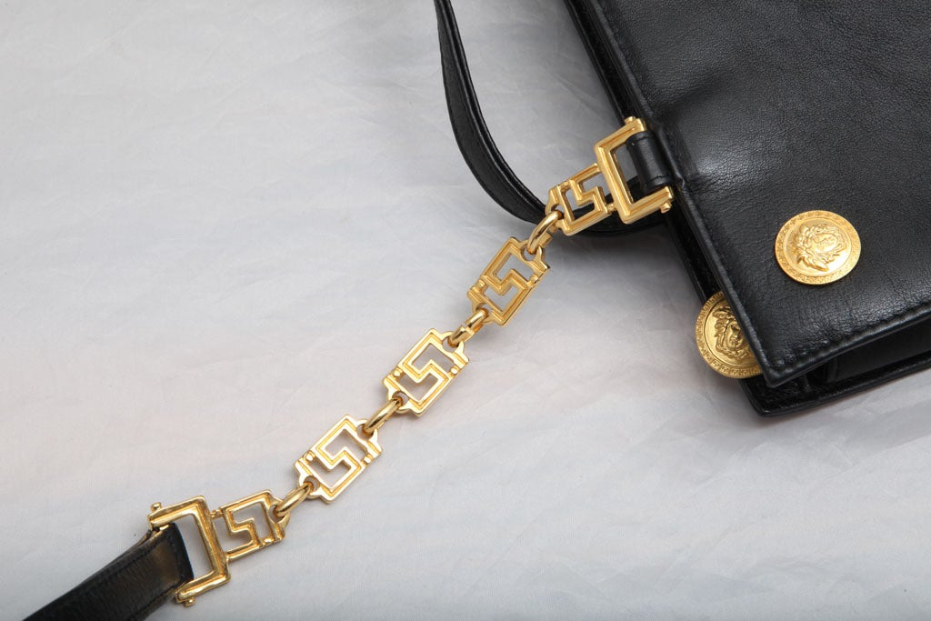 Women's Gianni Versace Couture Black Shoulder Bag with Gold Medusa M For Sale